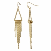 Nessa's Textured Goldtone Fringe Dangle Earrings