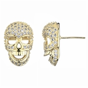 Neta's Goldtone Pave CZ Skull Stud Earrings