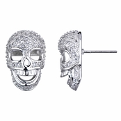 Neta's Silvertone Pave CZ Skull Stud Earrings