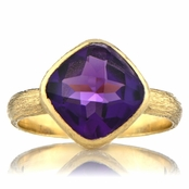Nev's Genuine Amethyst Cushion Cut Right Hand Ring - Gold