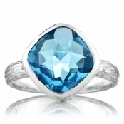 Nev's Genuine Blue Topaz Cushion Cut Right Hand Ring