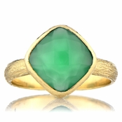 Nev's Green Stone Cushion Cut Right Hand Ring - Goldtone