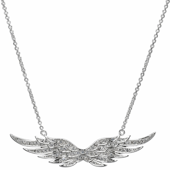Nicole's Silvertone and Pave CZ Angel Wing Charm Necklace