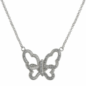 Nicole's Silvertone Pave Butterfly Necklace