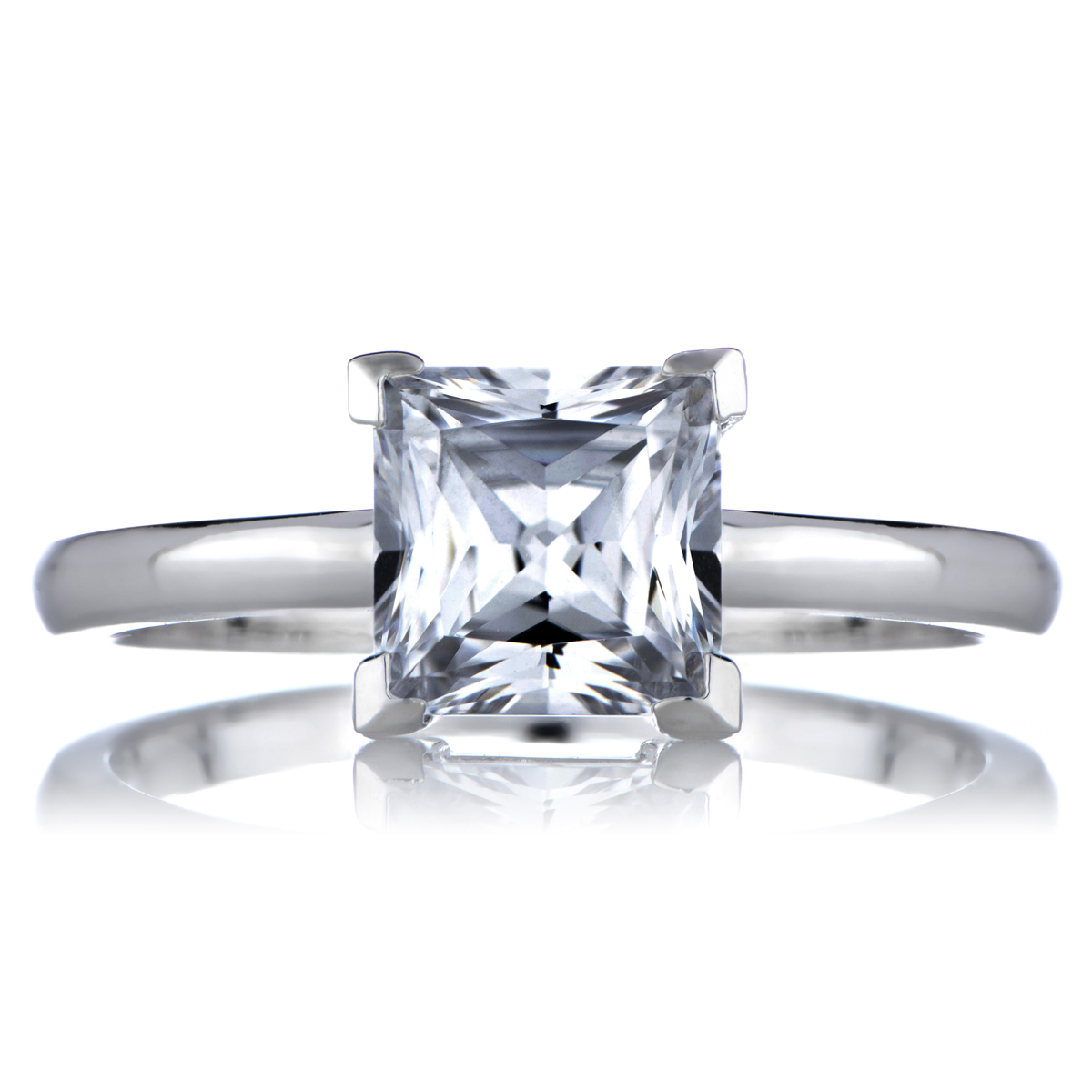 s 1 25 ct princess cut cz engagement ring