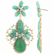 Nima's Green and Gold Fashion Pear Drop Earrings