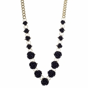 Nina's Goldtone and Black Rose Statement Necklace