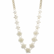 Nina's Goldtone and White Rose Statement Necklace