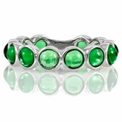 Nina's Silvertone Eternity Ring - Green CZ