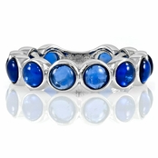 Nina's Silvertone Eternity Ring - Blue CZ