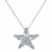 Nita's Silver Tone Marquise Cut CZ Star Charm Necklace