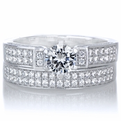 Nivena's Modern Style Round Cut CZ Pave Wedding Ring Set