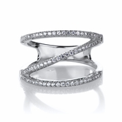 Noella's Sterling Silver and CZ Triple Row Cocktail Ring