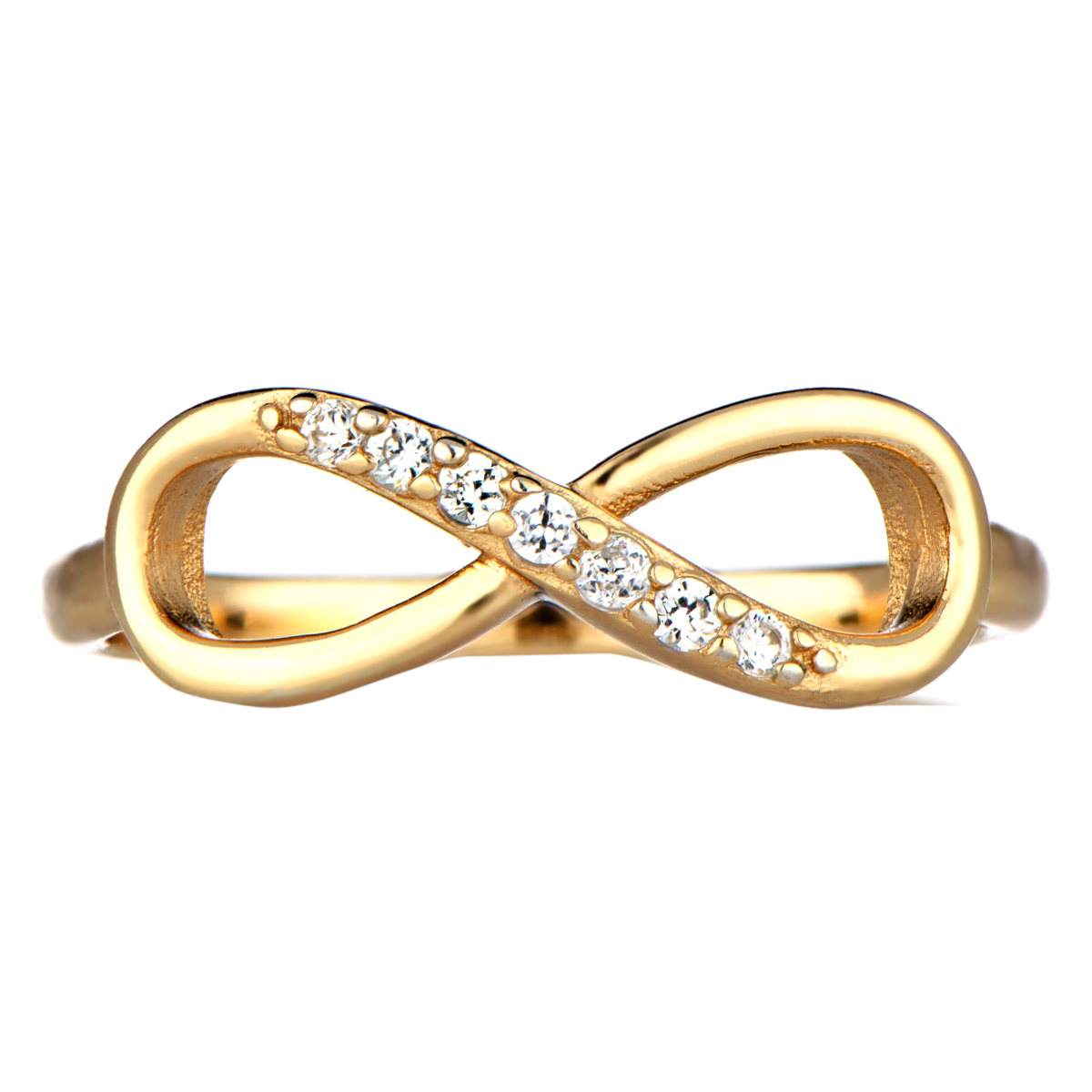 infinity ring in gold with czs