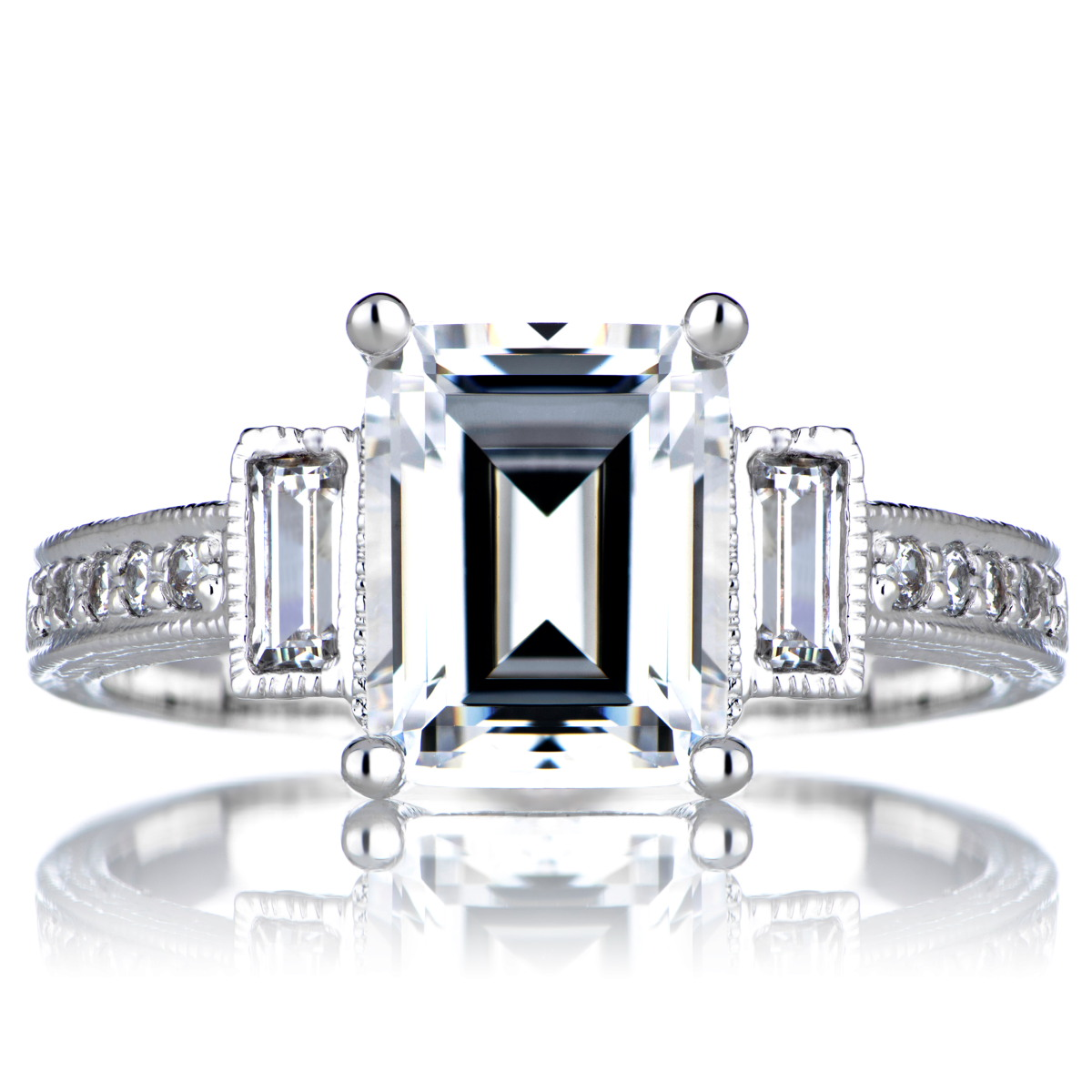 Norah\'s Engagement Vintage Ring - Emerald Cut CZ
