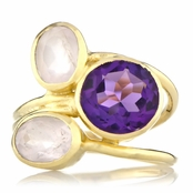 Nori's Goldtone Light Purple CZ 3 Stone Cocktail Ring