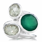 Nori's Genuine Green Onyx Three Stone Cocktail Ring