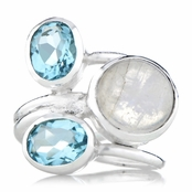 Nori's Imitation Moonstone Three Stone Cocktail Ring