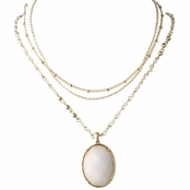Norma's Triple Layered White Oval Necklace
