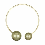 Nyoka's Designer Style Double Goldtone Imitation Pearl Collar Necklace