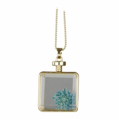 Olive's Gold Dried Flower Glass Locket Necklace - Turquoise