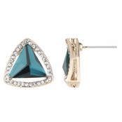 Olivia's Blue Teal CZ Estate Style Stud Earrings