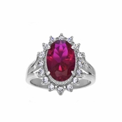 Ora's Ruby CZ Estate Cocktail Ring - Oval Cut