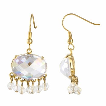 Misty's Fancy CZ Earrings - Goldtone