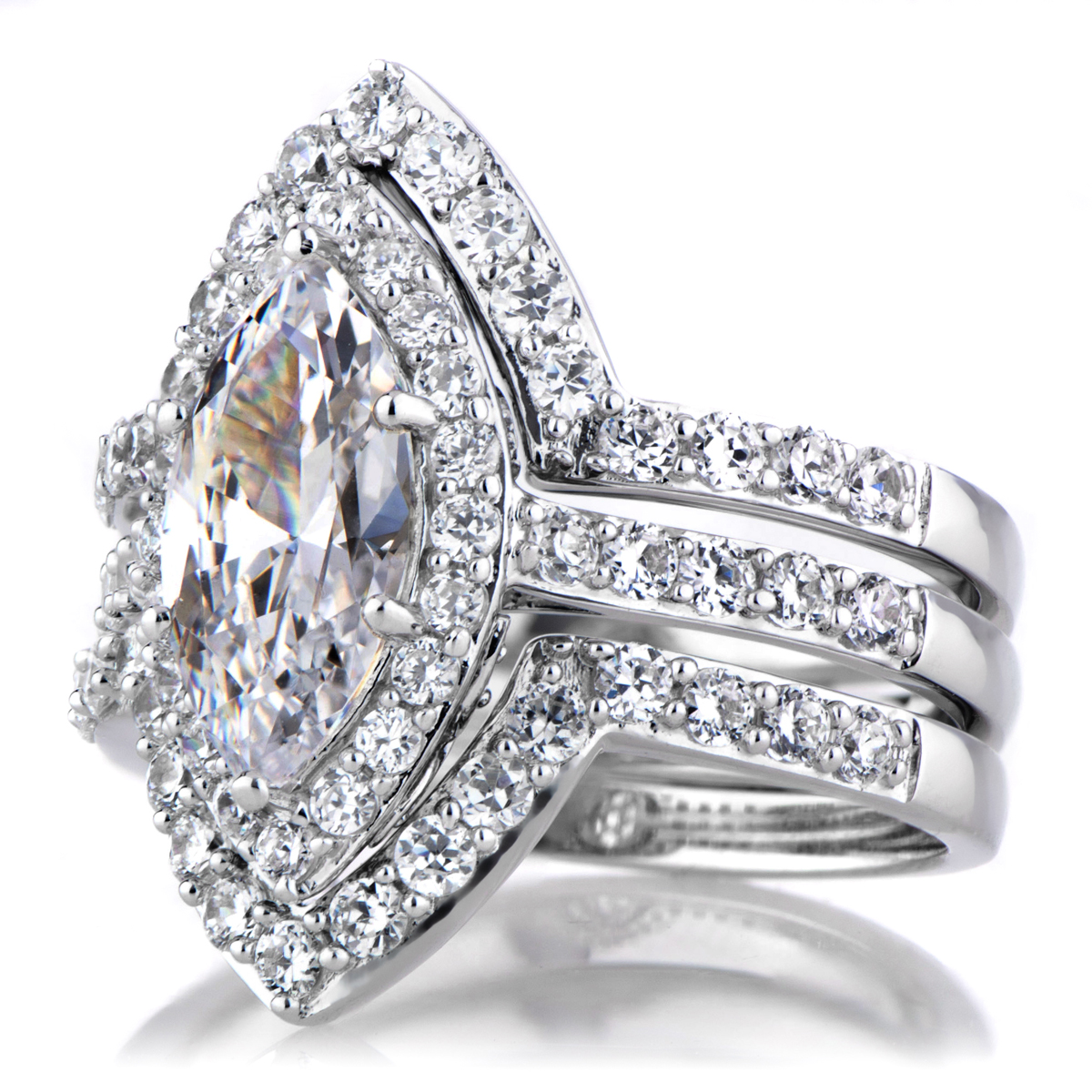 padgett 39 s marquise cut cz engagement ring and guard set