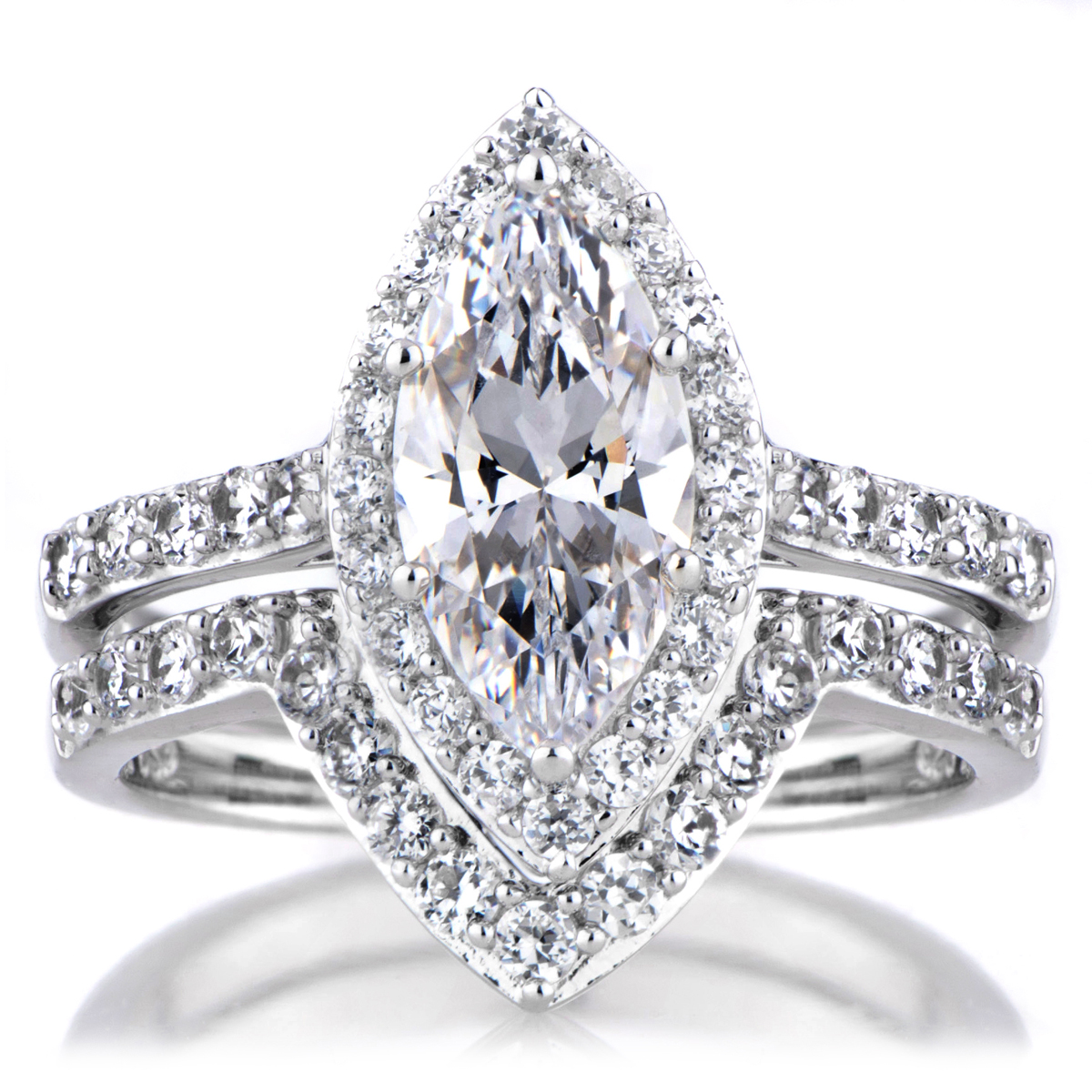 padgett s marquise cut cz engagement ring and guard set