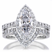 Padgett's Marquise Cut CZ Engagement Ring and Guard Set