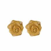 Paisley's Goldtone Rose Stud Earrings