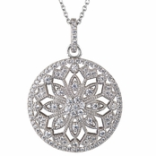 Paloma's Art Deco Cubic Zirconia Pendant Necklace