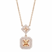 Paloma's 18in Rose Gold and Princess Cut Champagne CZ Drop Necklace