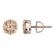 Paola's 8mm Rose Gold and Champagne CZ Stud Earrings with Screw On Backing