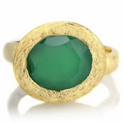 Parina's Oval Cut Green Stone Goldtone Cocktail Ring