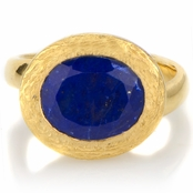 Parina's Oval Cut Simulated Blue Lapis Gold Tone Cocktail Ring