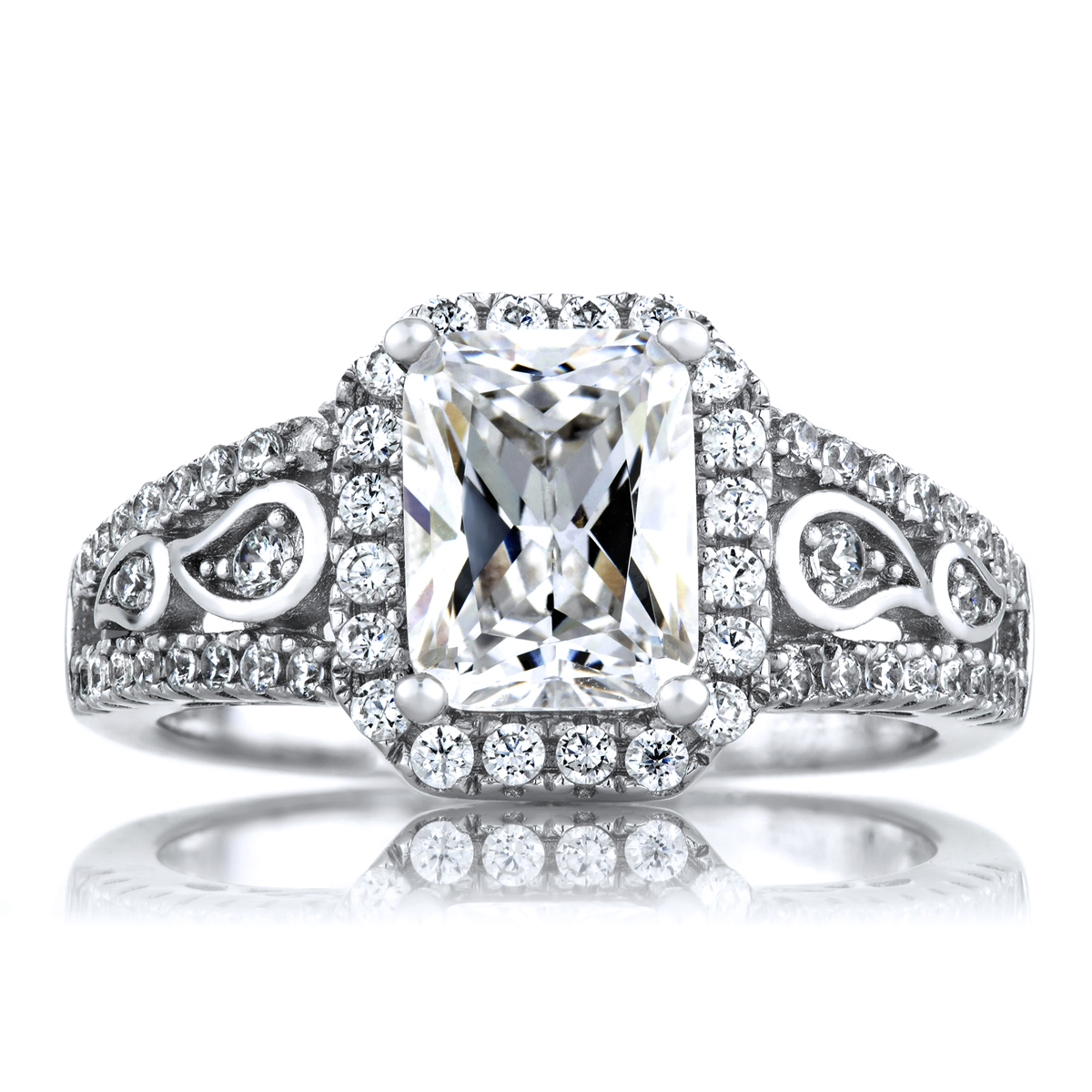 ... Emerald Cut CZ Engagement Ring. Roll Off Image to Close Zoom Window