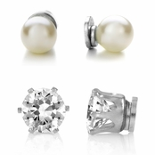 7mm Imitation Pearl and 8mm CZ Magnetic Stud Earring Set