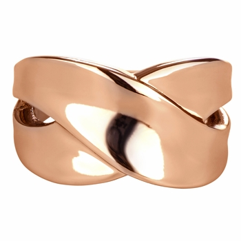 Pearla's Rose Goldtone X Cigar Band Ring