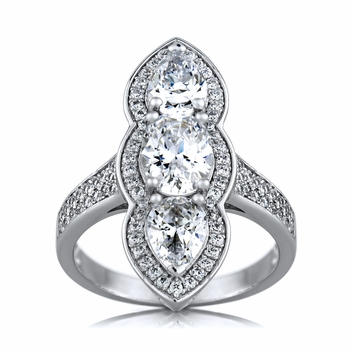 Pearlette's Art Deco Style 3 Stone CZ Cocktail Ring