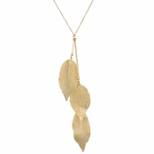 Peggy's Goldtone Leaf Y Necklace