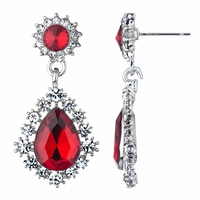 Penelope's Pear Drop Fancy Earrings - Ruby Rhinestone