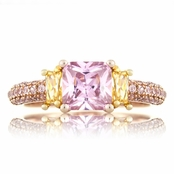 Peony's Rose Gold Tone Pink and Canary CZ Three Stone Promise Ring