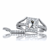 Peppin's Halo Emerald Cut CZ Wedding Ring Set