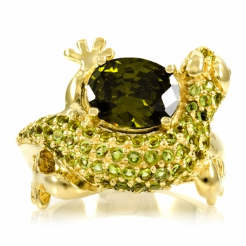 Percival's Olive CZ Lizard Ring