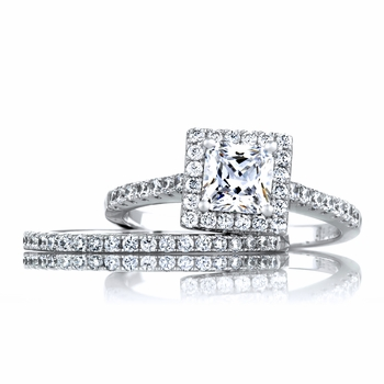 Perrie's 1.24ct Princess Cut Halo CZ Wedding Ring Set