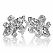 Petite Fleur De Lis CZ Earrings