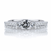 Lalita's Petite Three Stone Sterling Silver CZ Wedding Ring Set