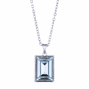 Pheona's Emerald Cut Swarovski Crystal Pendant Necklace - Aqua Blue